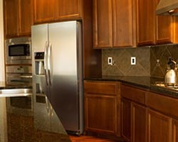 Dark cabinets dark granite countertops - Long Island