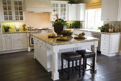 White cabinets light granite